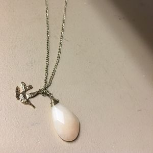 Teardrop and Bird Gold Necklace